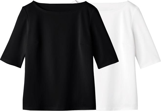 カウンタービズ/ボートネックT(5分袖)