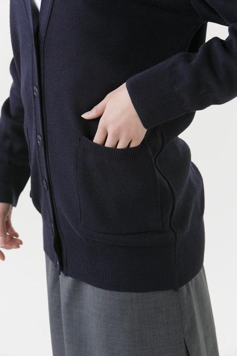 抗ピル貼りポケ付きカーディガンロング丈
