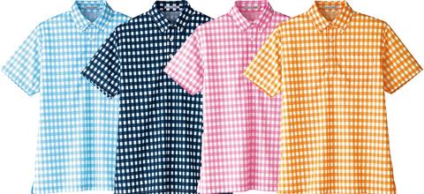 フェイスミックス/チェックプリントポロシャツ[男女兼用]